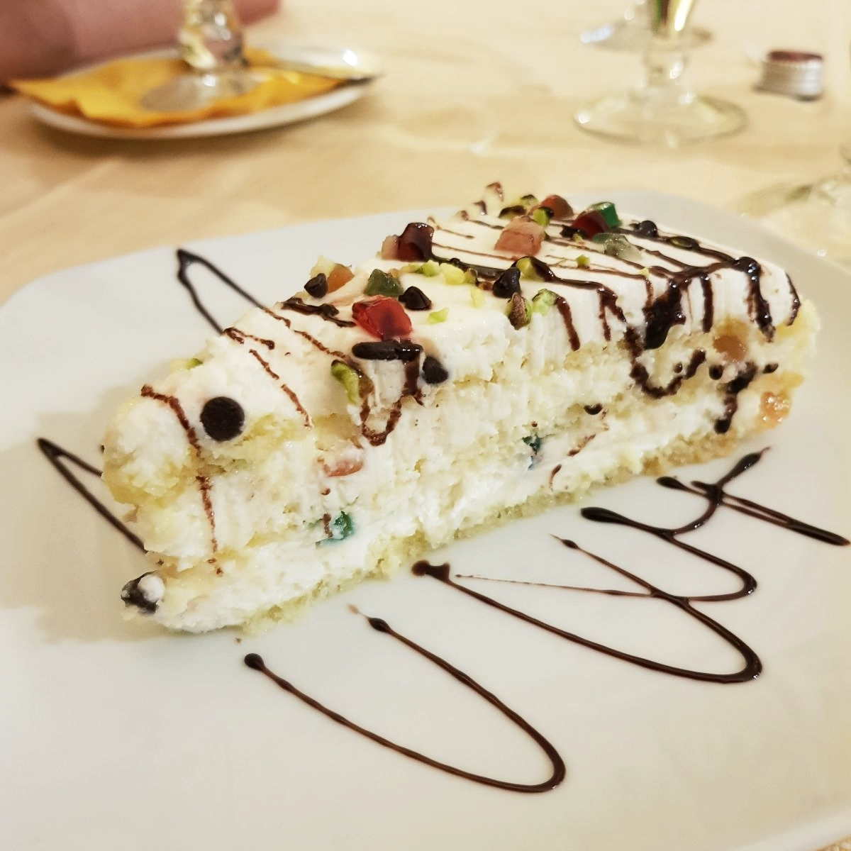 The ricotta ravioli proving to be incredibly non-photogenic, here is a photo of the lovely cassata we had for dessert