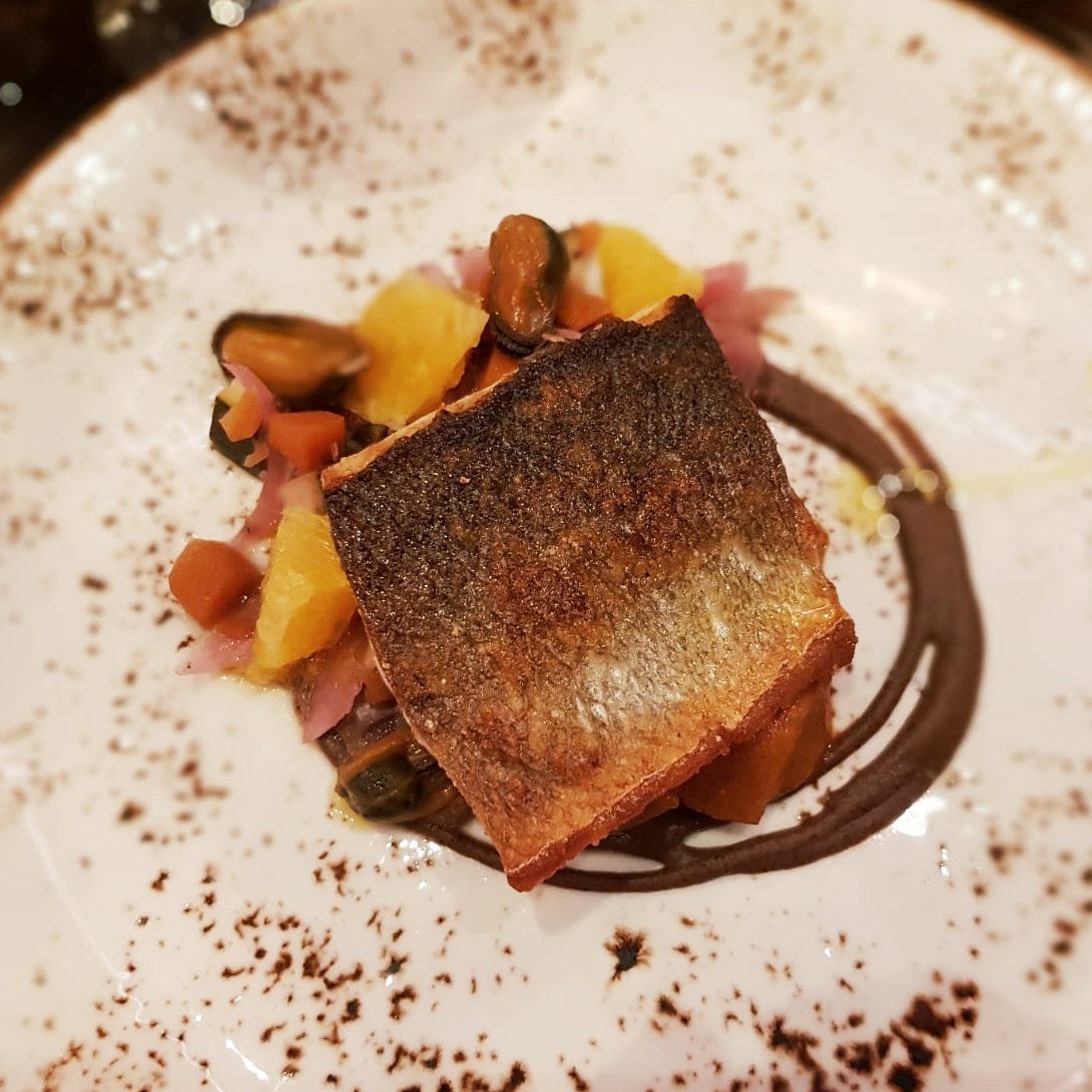 The sea bass with mussel escabeche