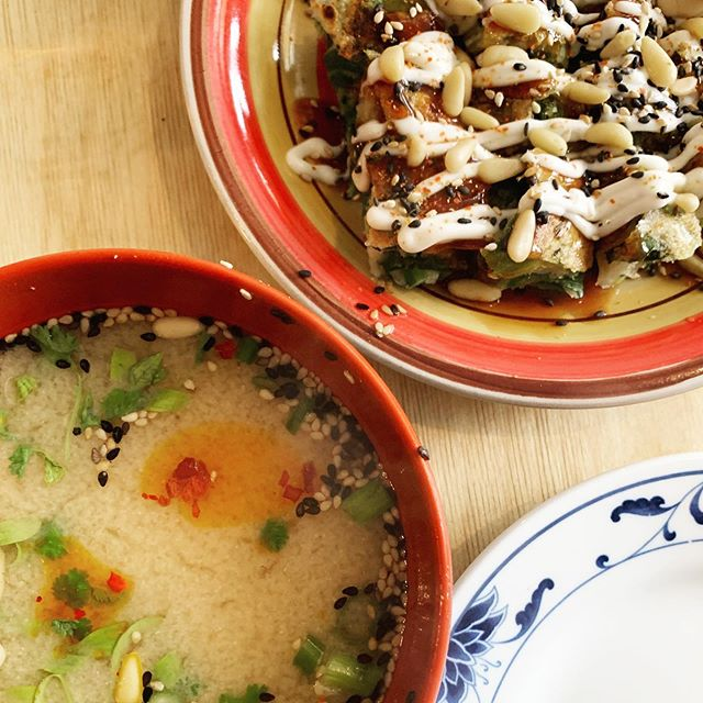 Miso soup and okonomiyaki from the €12 lunch menu in @luckytortoiseco. Gorgeous food and lovely service right in the city centre. Can't wait to go back to try more! . . . . . #luckytortoise #dublin #irishfood #asianfood #japanesefood #misosoup #okonomiyaki #cabbage #foodporn #foodie #food #dublinfood #lunch #lunchinspo #tasty