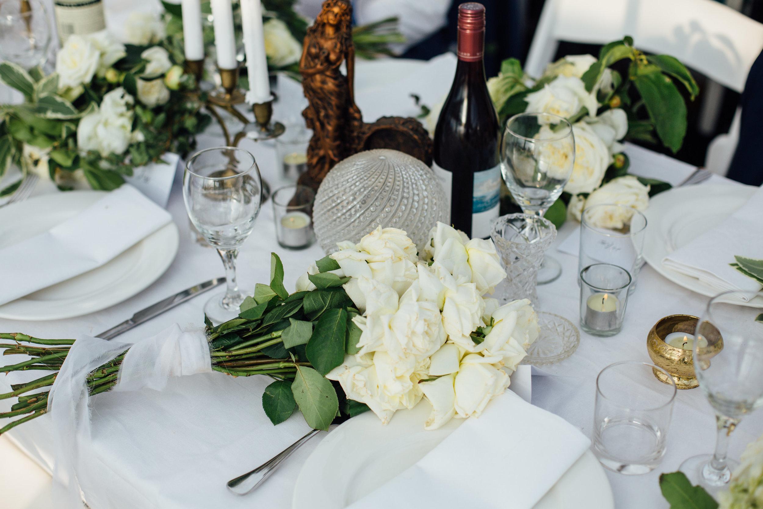 Jess + James Coastal Romance Tablescape Flowers