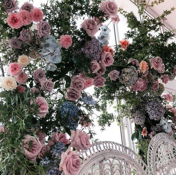 Khalida delicate pastel garden engagement