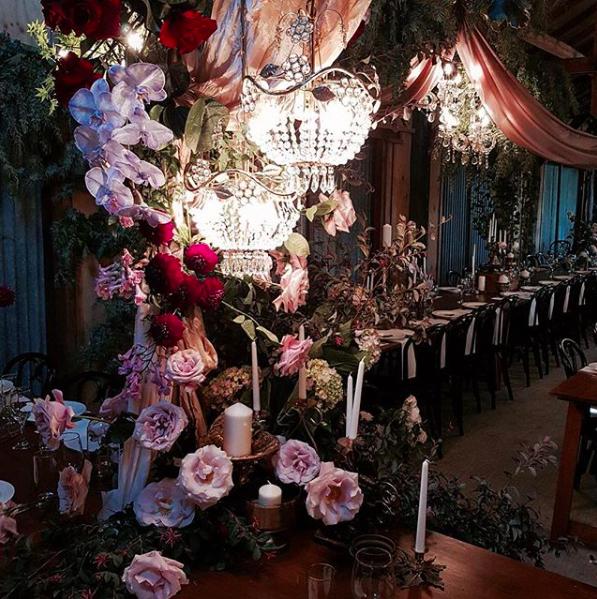 Amelia + Jono Secret Garden Wedding Chandelier