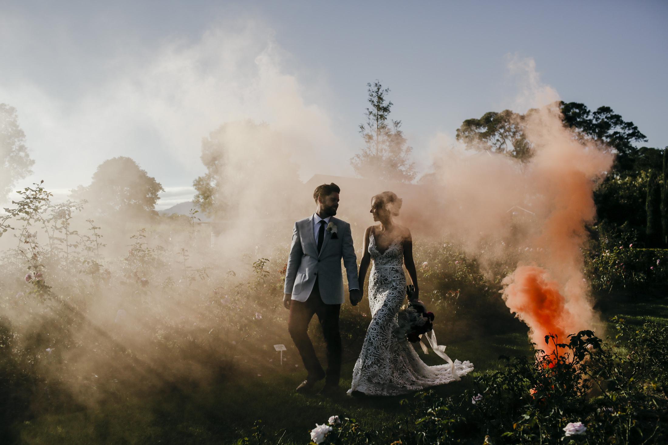 Amelia + Jono Secret garden Wedding Merribee Smoke