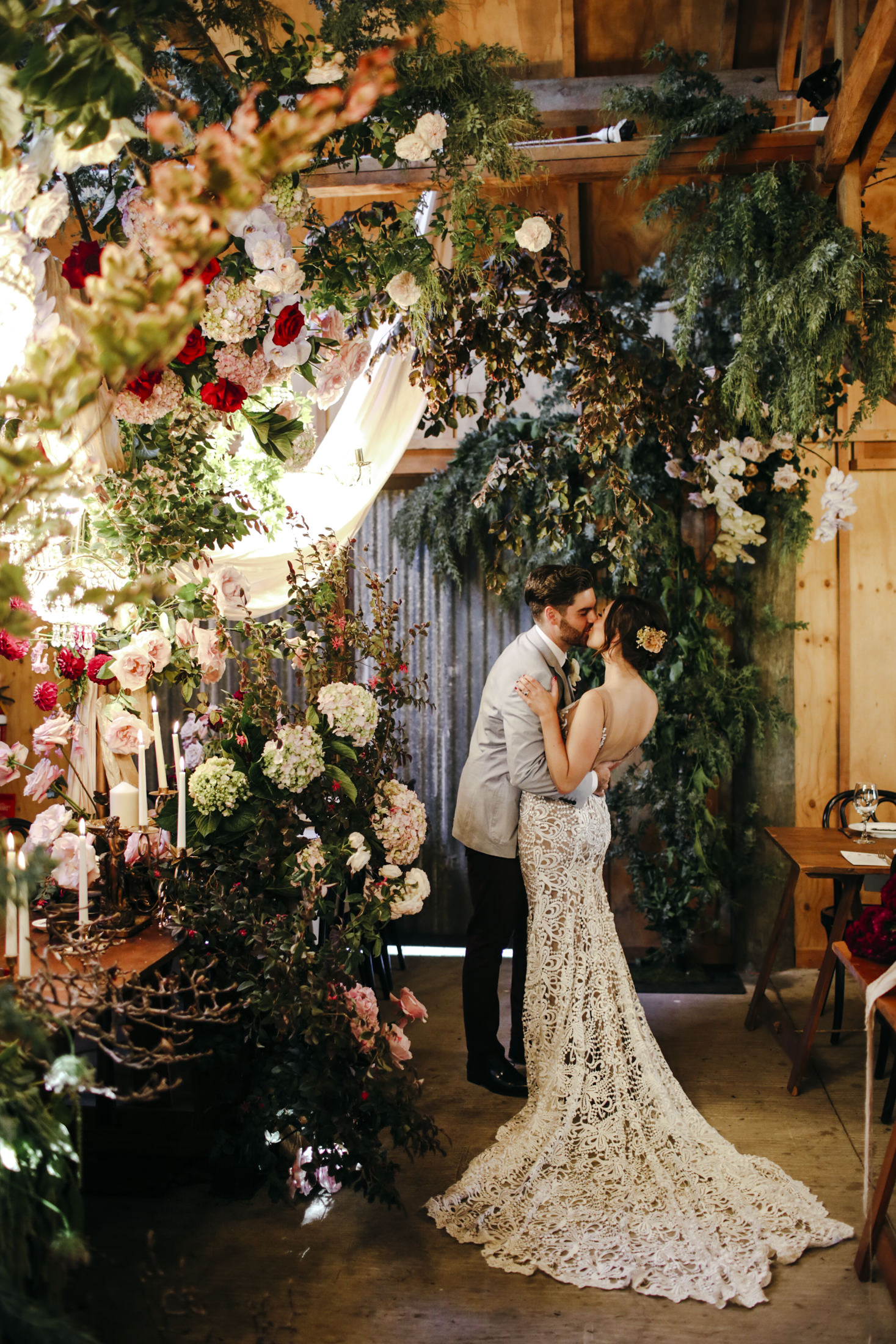 Amelia + Jono Secret Garden Kissing Couple Loved