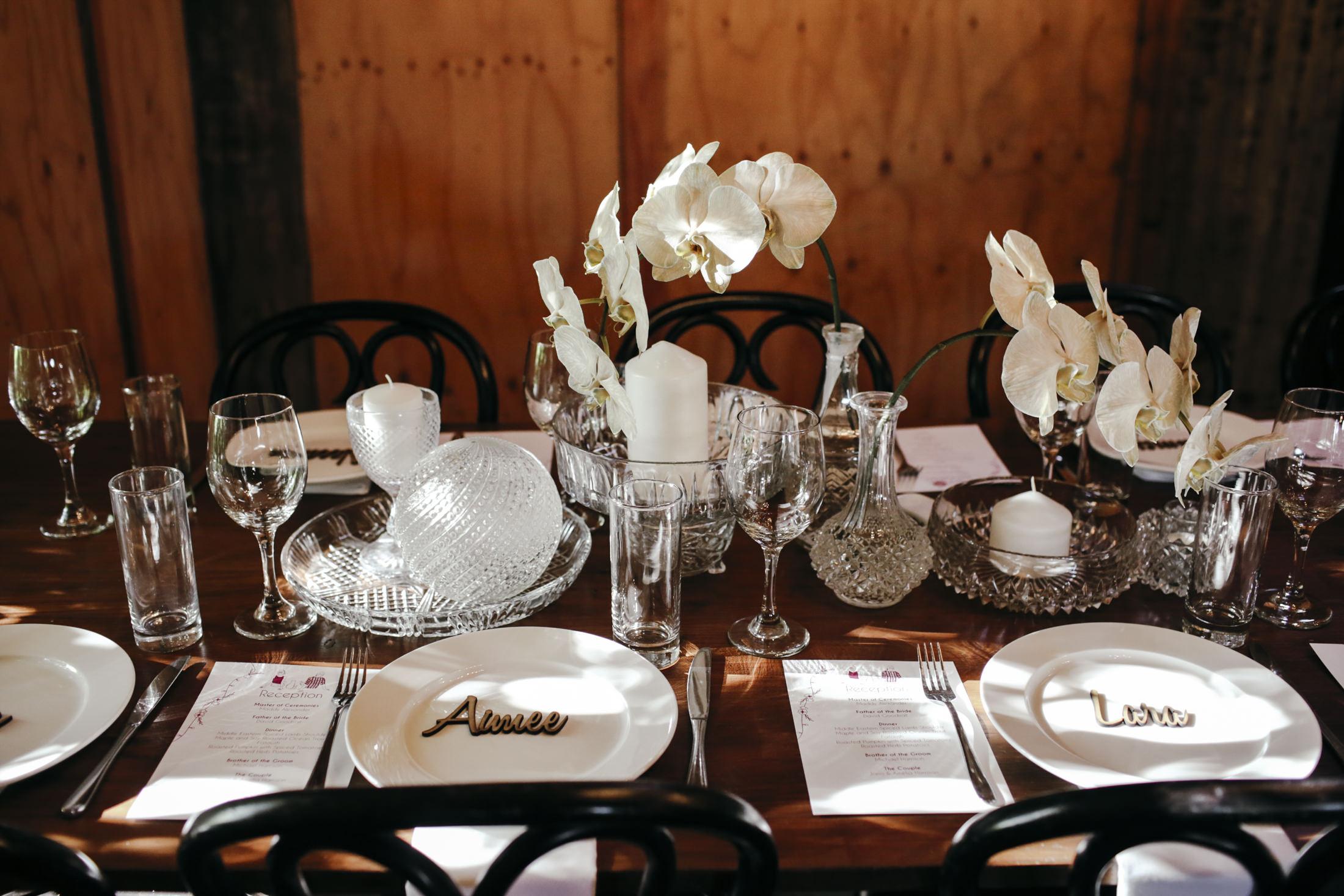 Amelia + Jono Secret Garden Table settings