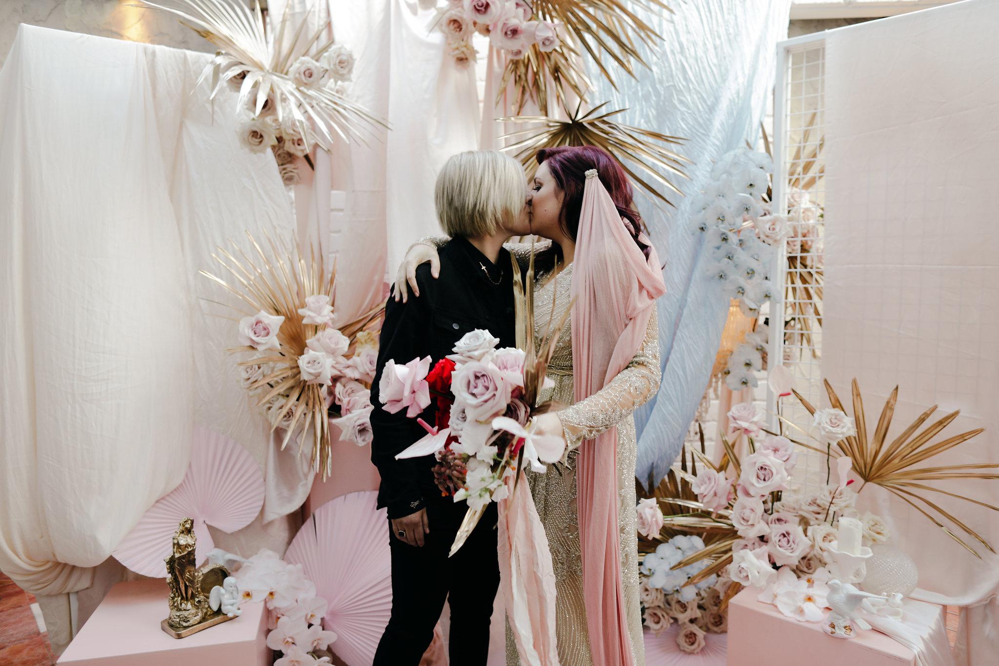 ceremony 1.jpgLara + Cass Bohemian Blooms Juliet's bedroom ceremony true love's kiss