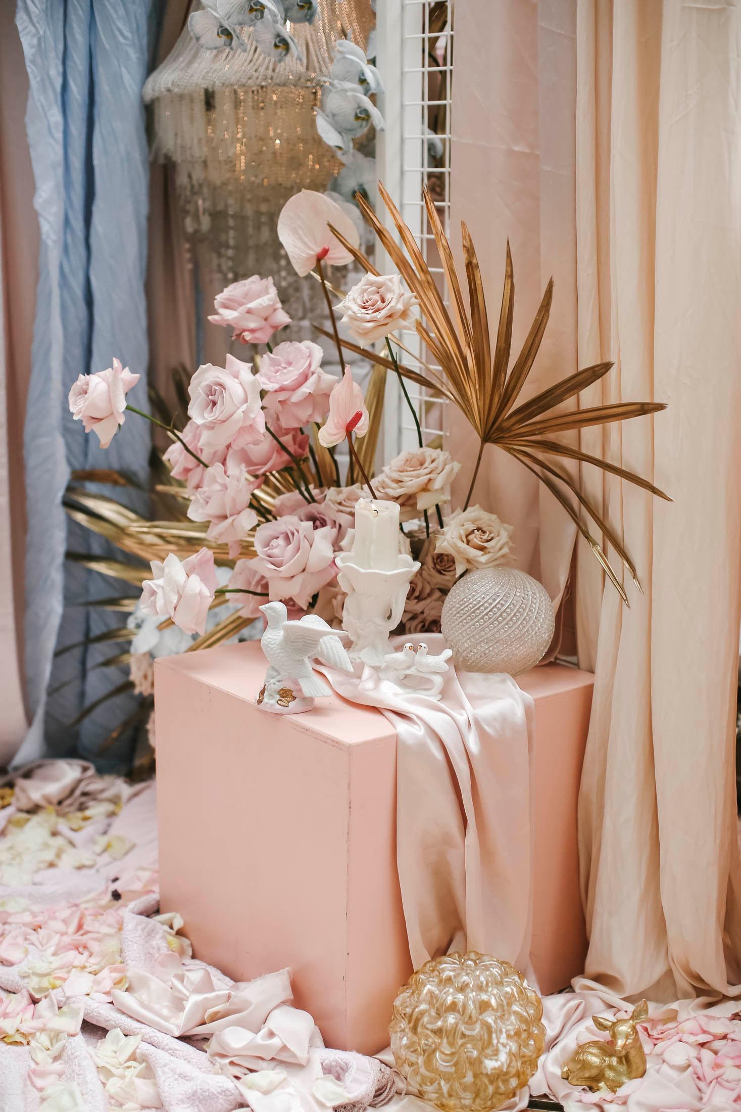Lara + Cass Bohemian Blooms flower arrangement juliets bedroom
