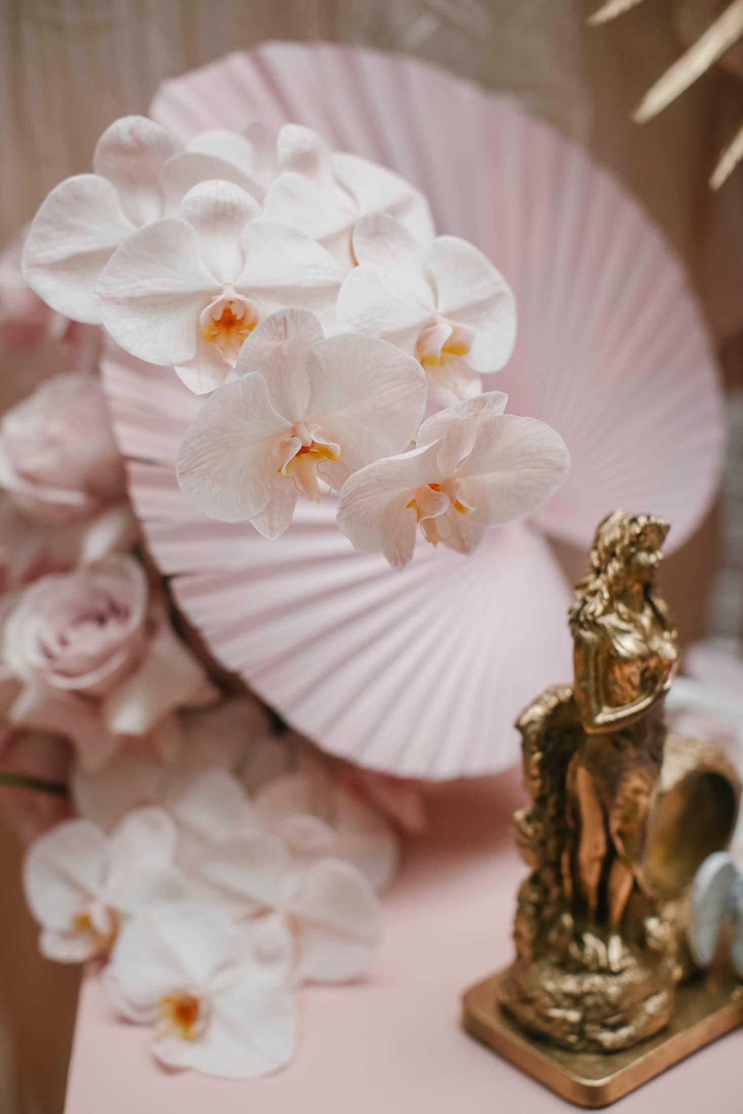lara + Cass bohemian blooms orchids gold statue juliet's bedroom