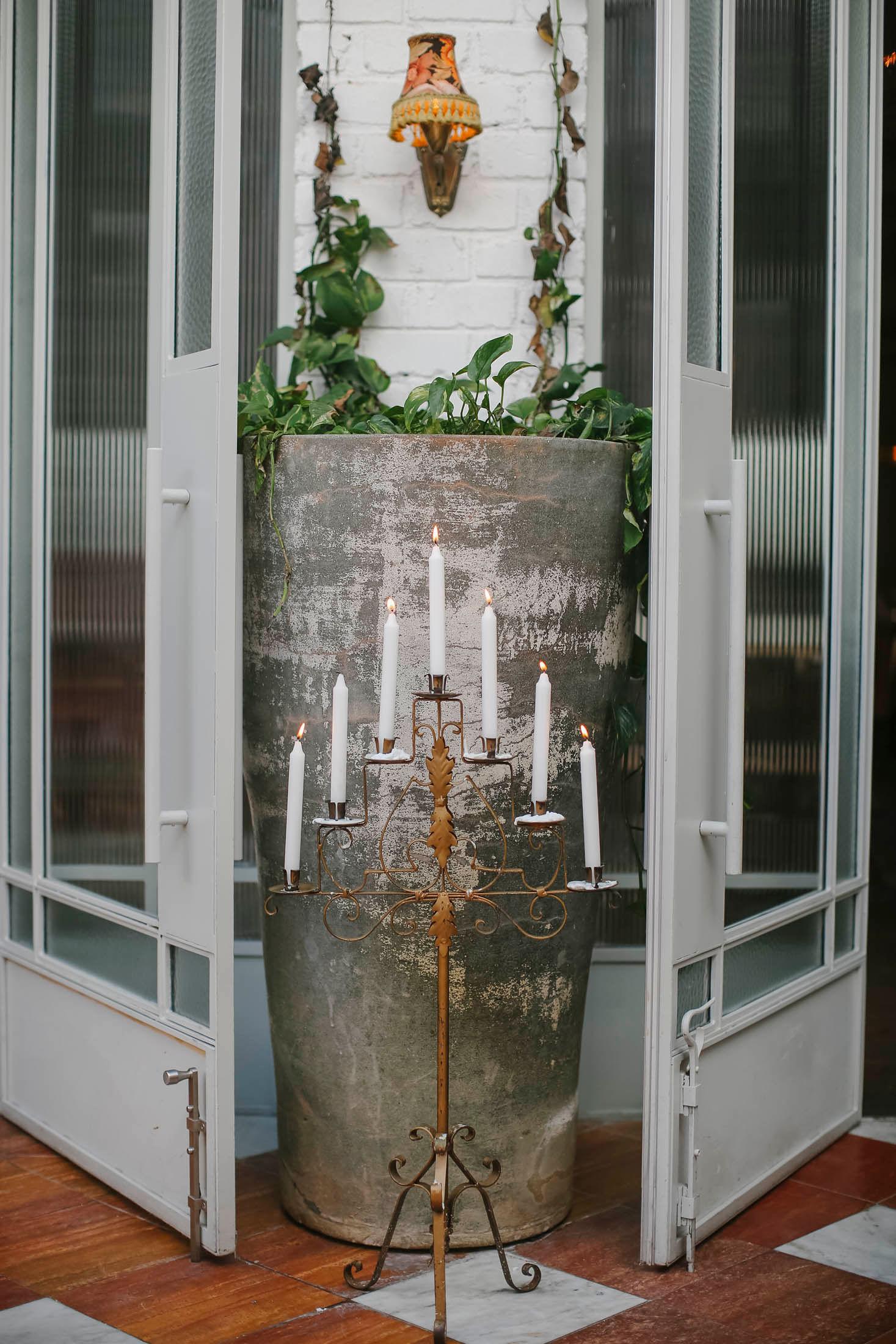 Lara + Cass juliet's bedroom ceremony entrance bohemian blooms