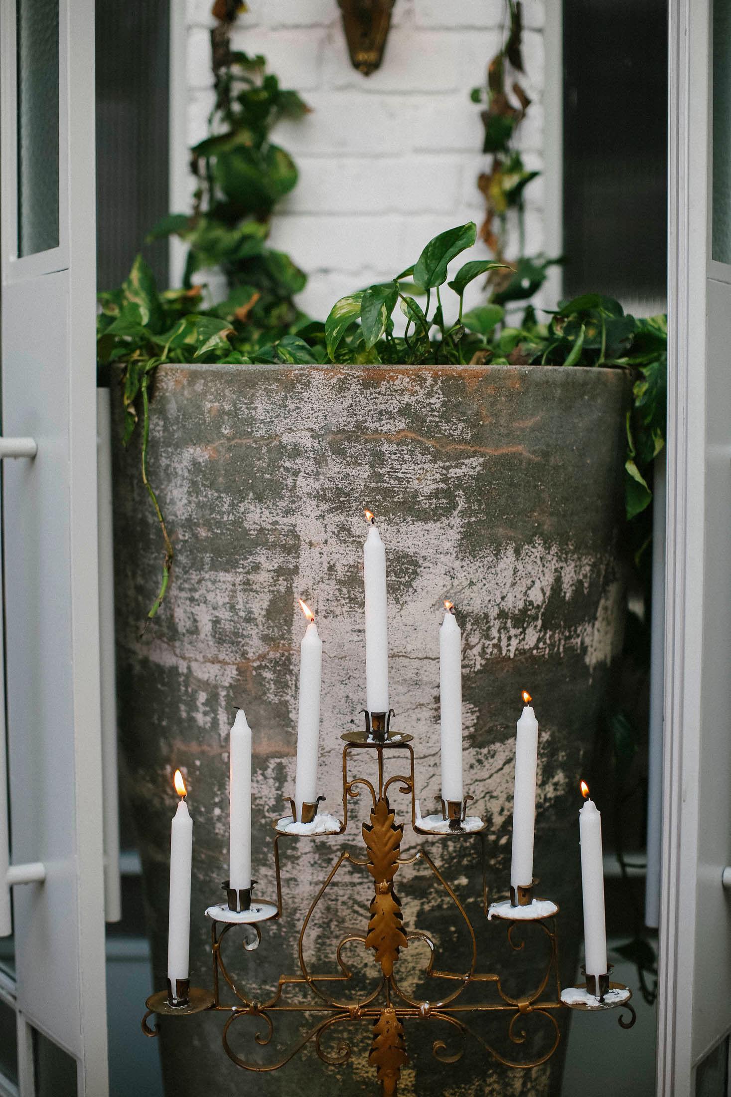 Lara + Cass Bohemian Blooms Juliet's bedroom ceremony entrance closeup