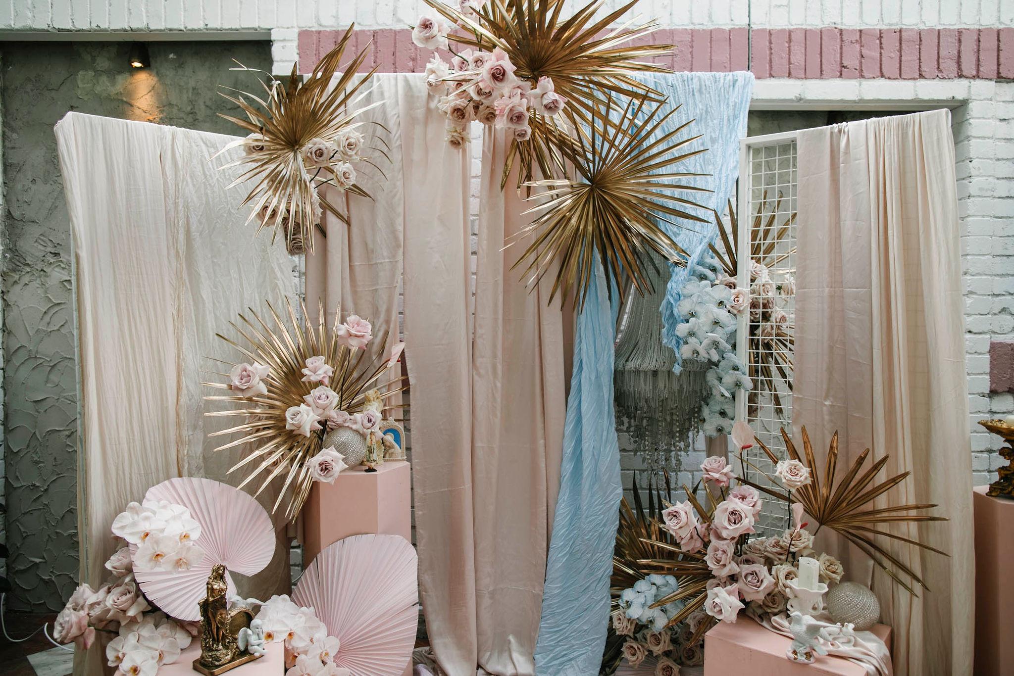 Lara + Cass Bohemian Blooms ceremony setup Juliet's bedroom