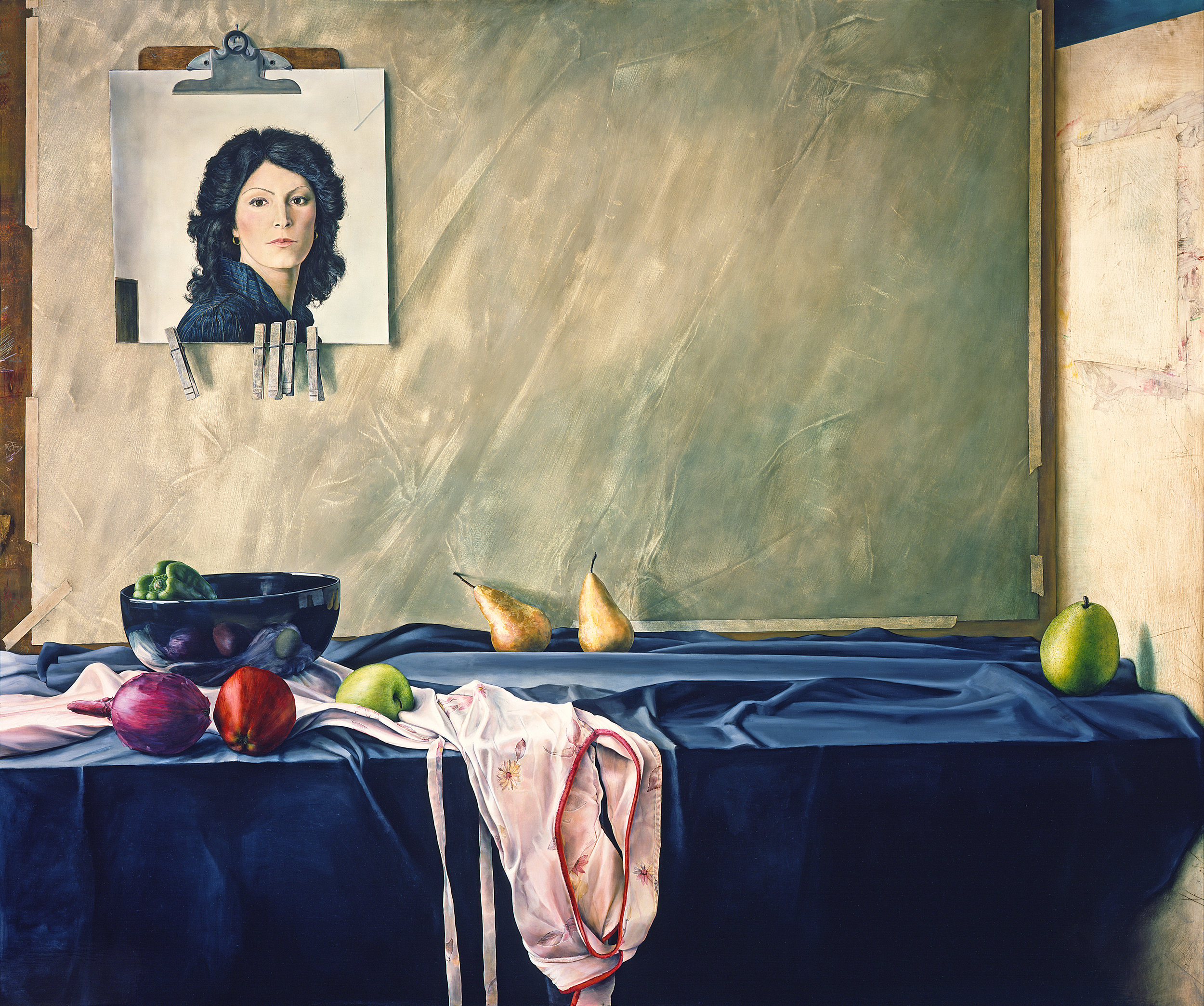 Woman Reflected in Still Life