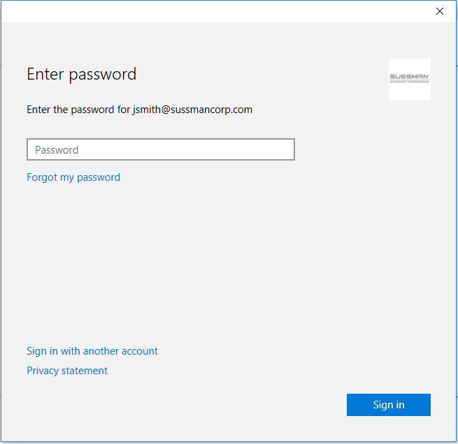 - After entering your password you will see a popup screen asking you to enter your Office 365 password. this password is the same password as you entered previously.