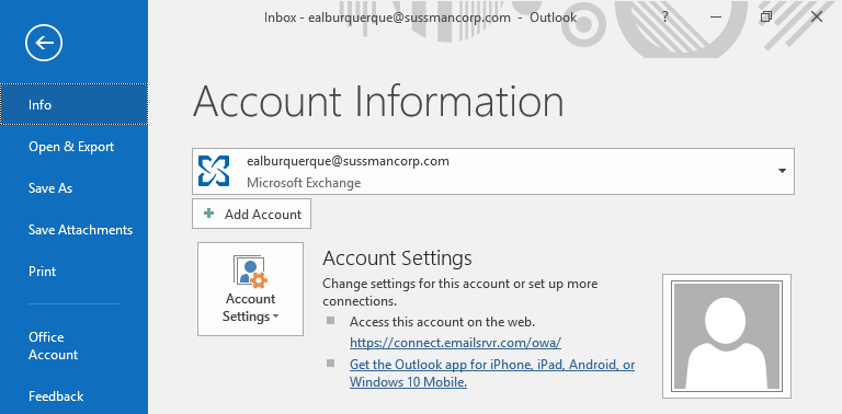- Start by clicking the File tab on top of the Outlook window, then proceed to select Info from the left side bar. Once in the Info screen Click on Add Account.
