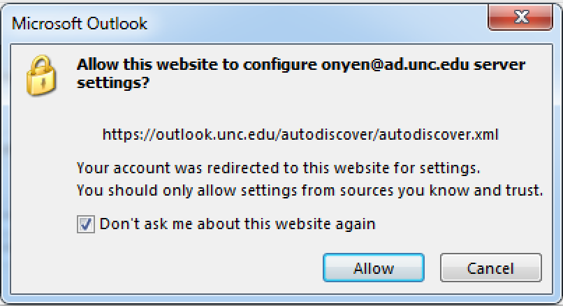 - You may be prompted to allow auto-discover. Check the box by Don't ask me about this website again. Click Allow.