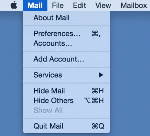 - Launch Apple Mail. If you are starting Mail for the first time, the setup wizard will guide you through setting up your account.If you have used Mail previously to access a mail account, select Mail >Preferences from the menu bar.