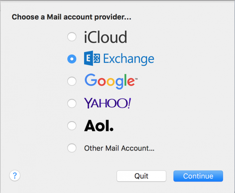 - On the account type selection screen, choose the button by Exchange.Click Continue to confirm adding the account.
