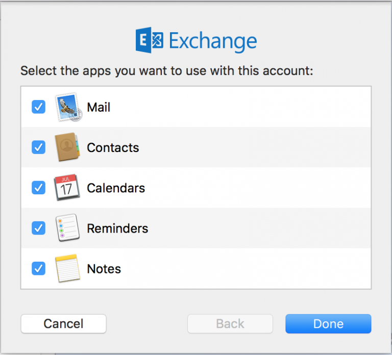 - After your account is verified, you can select which applications you would like to sync: Mail, Contacts, Calendar, Notes, and Reminders. By default, none are selected to sync. You will need to choose, we recommend choosing Mail, Contacts, and Calendar.Click