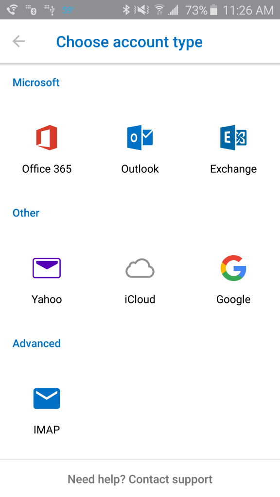 - At the Add Email Account screen,you will be presented with a list of email provider choices, select Office 365.