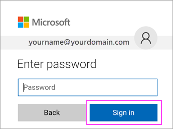 - On the Office 365 log in screen, your username should already be listed. Enter your password (the same password you currently use on your email and to login to your computer).Click on Sign in. Once you have signed in, the account will auto-configure and synchronize.