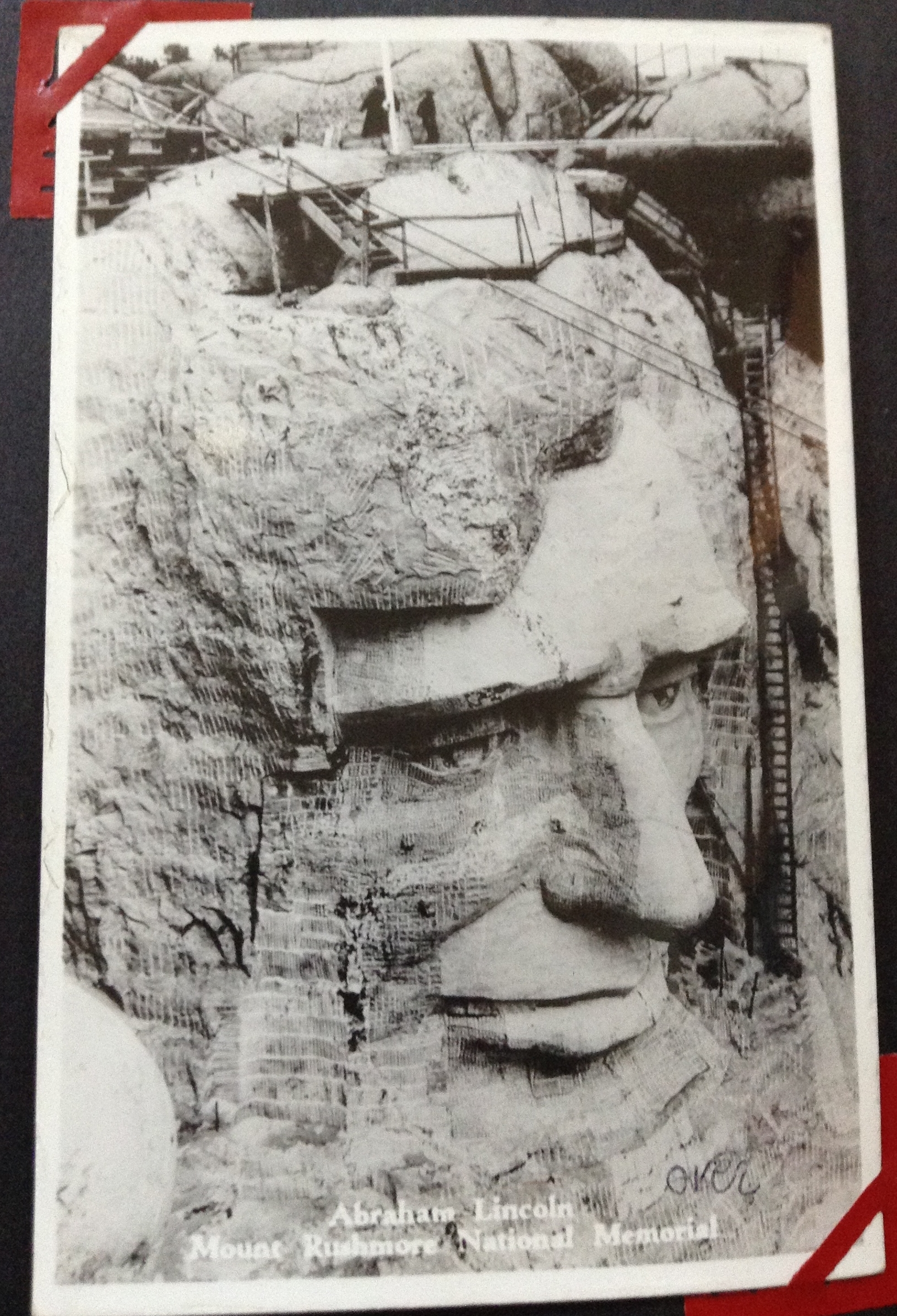 Mt. Rushmore National Memorial construction began in 1927. This photo post card is from Jim Carrig's family photo album.