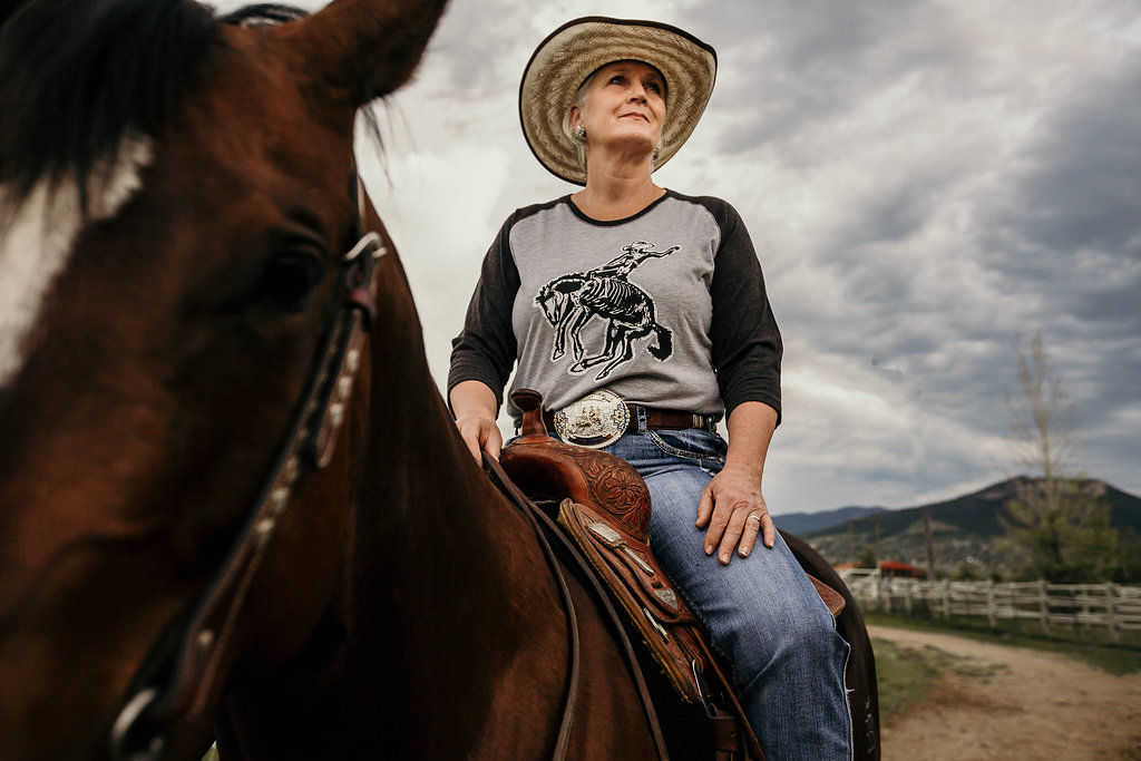 Sherri Ohs-Mosley wearing her Montana Bones rodeo shirt $50 each in our website store