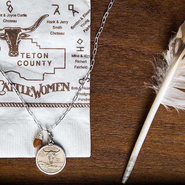 Sterling silver + Amber charm + State on Montana quarter.  Need it gift wrapped?  Our pleasure (no charge).