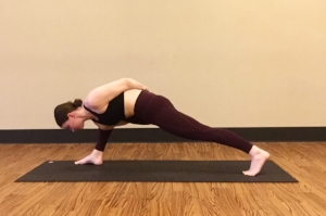 Try on a bound version of Lizard Pose to play with dropping your shoulder under the same leg knee.