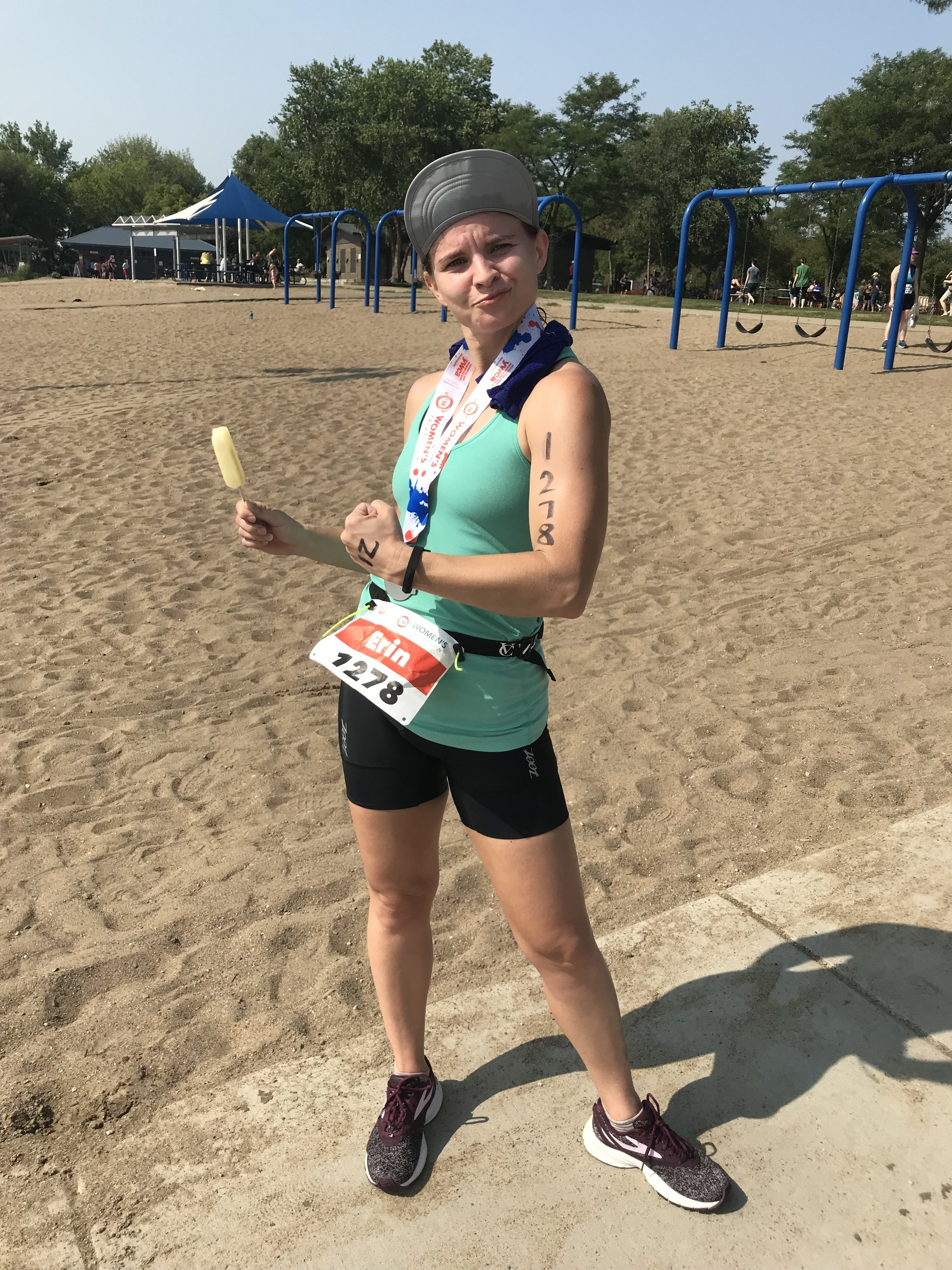 Me with my celebratory popsicle after I crushed my triathlon.
