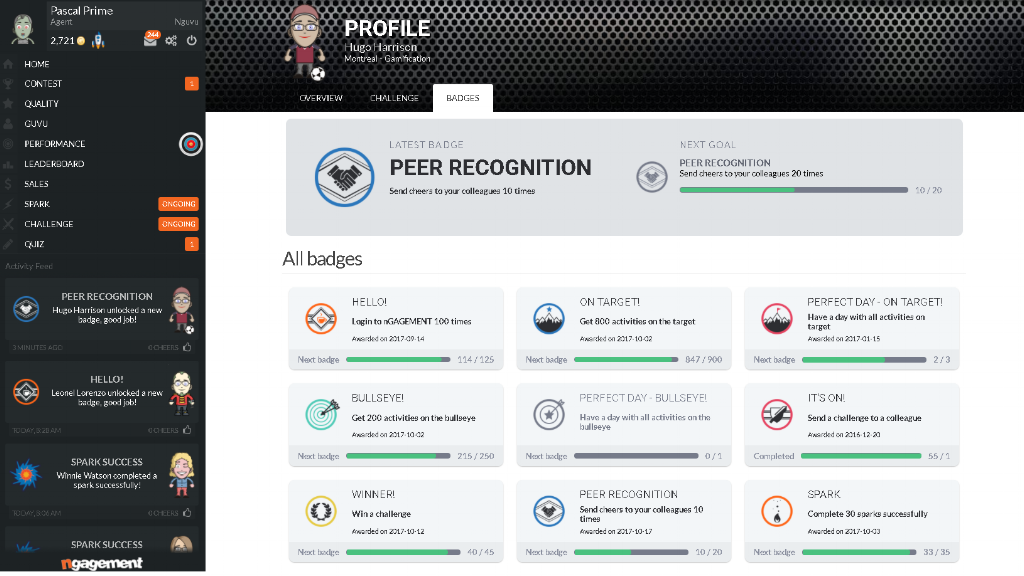 call center gamification platform - peer recognition screen