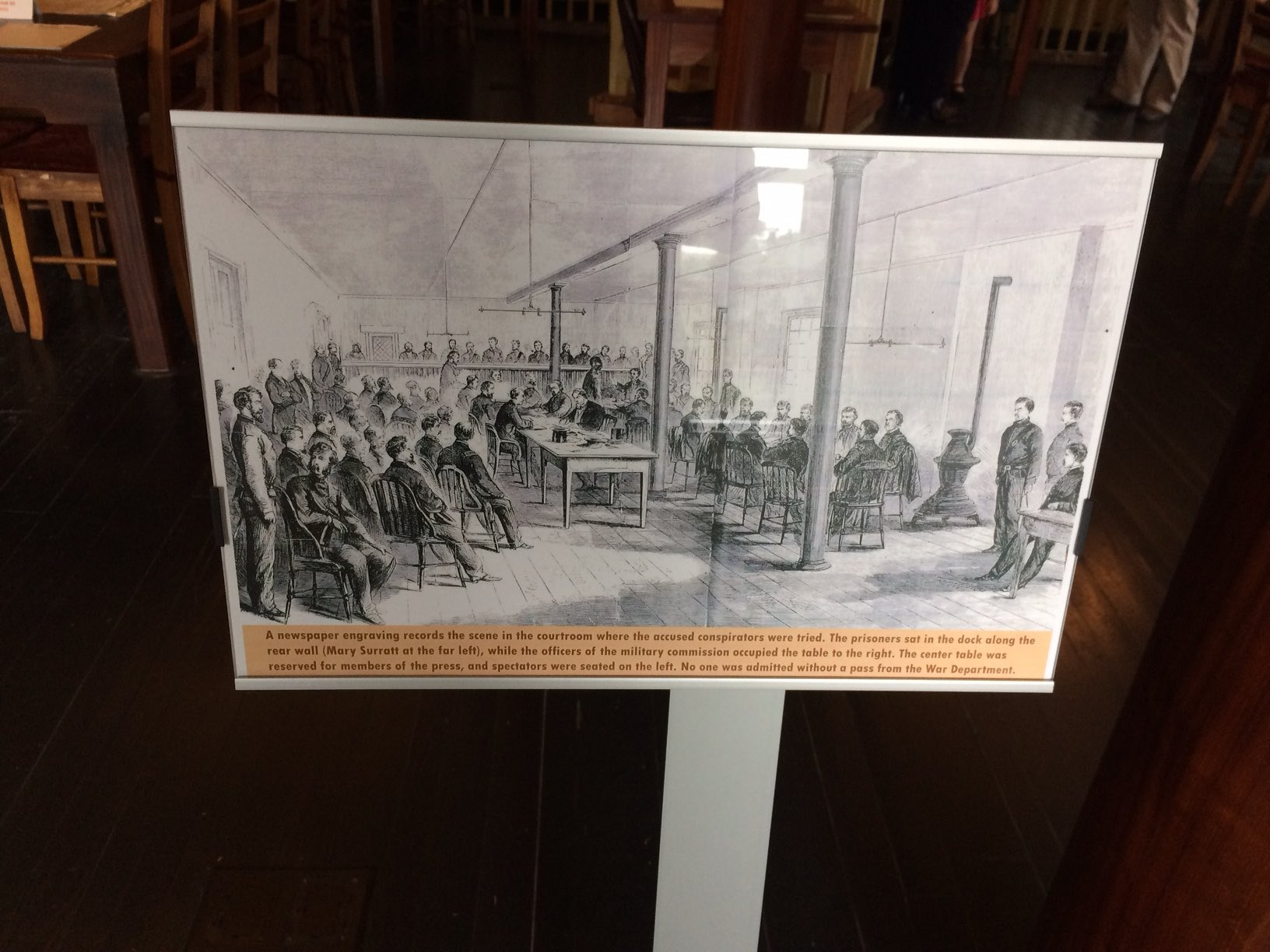 """The courtroom--although this drawing does not show,according to the Evening Star, """"the many ladies, some of whom have been present nearly every day the trial has been in progress."""""""
