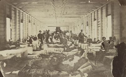 """The """"New and improved"""" camp, circa 1864. From Library of Congress."""