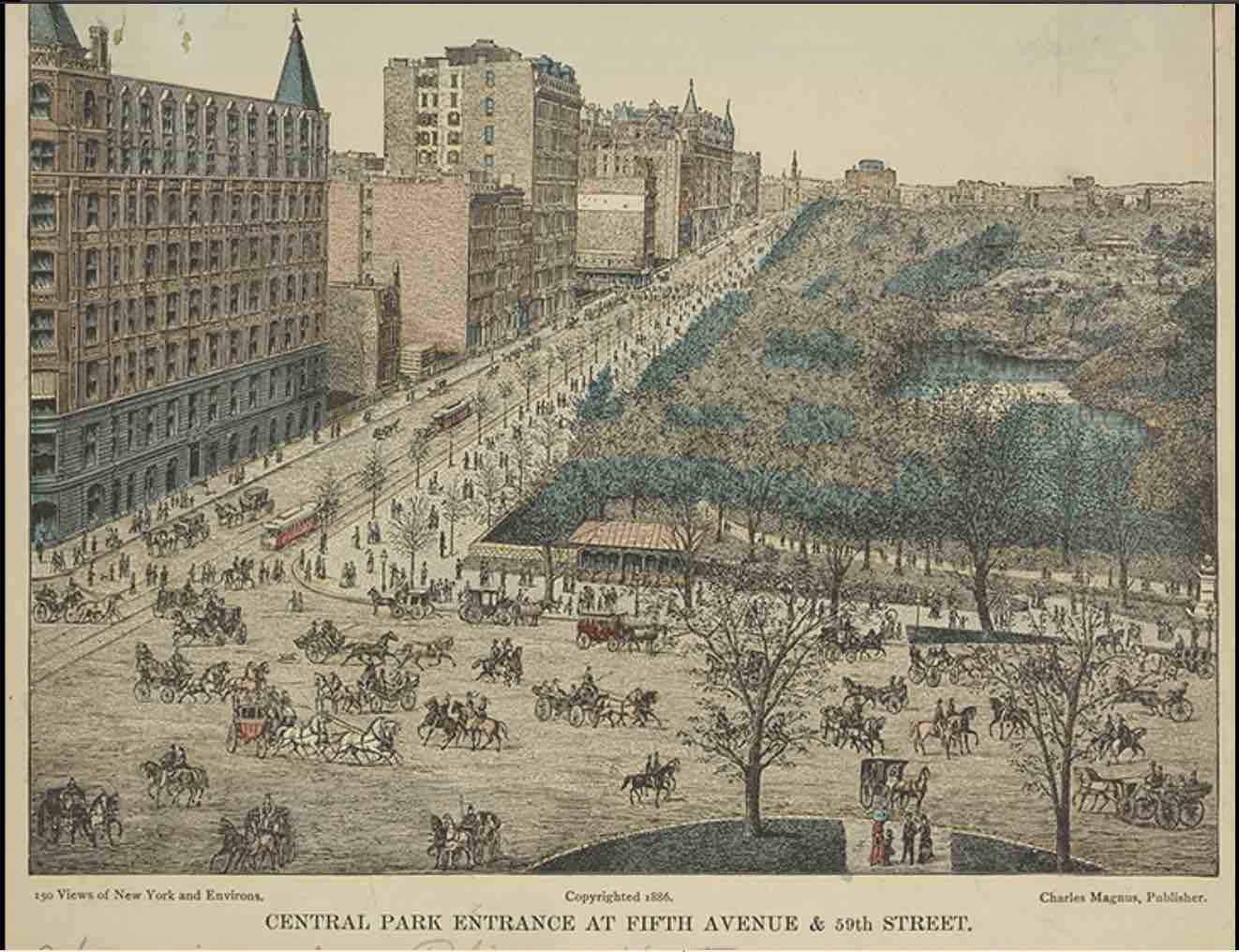 "This is the Park in the 1880s with ""cars"" and carriages. Note that the publisher, Charles Magnus, prepared the iconic ""bird's eye view of Alexandria"" 20 years earlier!"