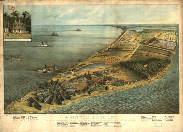Point Lookout, with hospital in the foreground and POW camp in the Upper right. Library of Congress image.