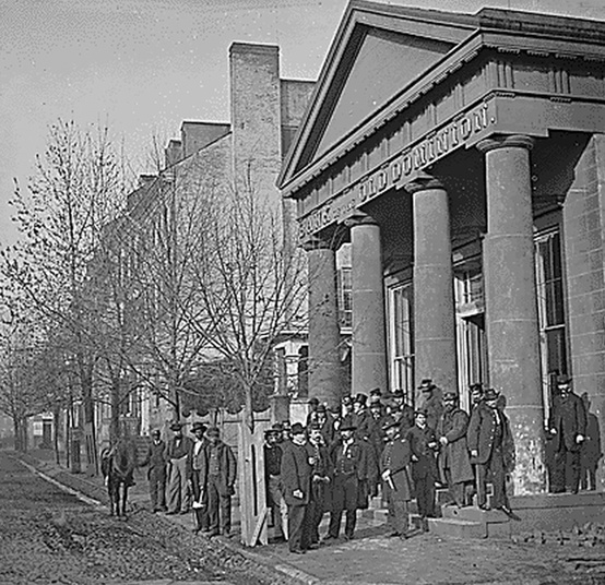 """During the Civil War, the """"Old Dominion Bank"""" sign still was evident."""