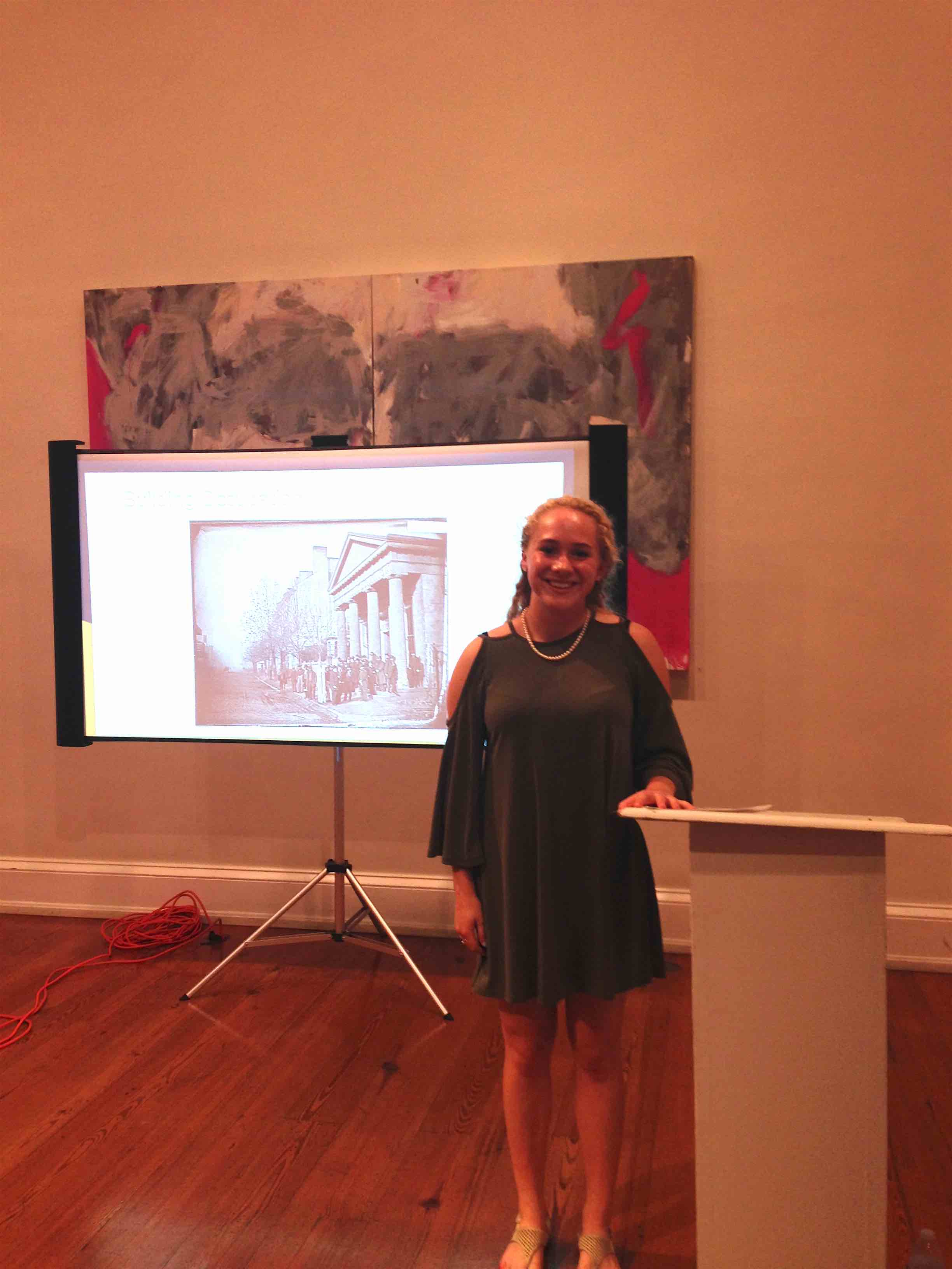 Meredith barber spent part of her internship at the Athenaeum researching the building's history.