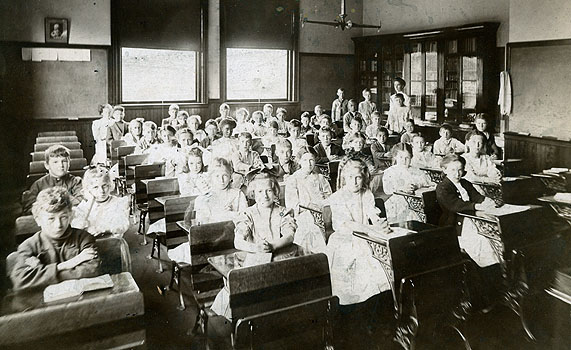 """Although not Julia's CLASSROOM, this photo shows the typical large classes and other challenges that a teacher faced. (photo from article """"serious Concerns about Education...in the 1840s"""")"""