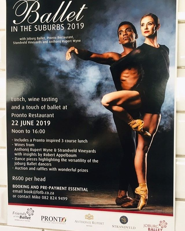 """It's that time of the year again. """"The most exciting dance experience in the suburbs of Joburg."""" Join us for lunch on our balcony on Saturday 22 June @ 12pm for a truly world class performance by the the entire Johannesburg Ballet.⠀⠀ ⠀⠀ Includes a three course meal, tasting of wines from Antonij Rupert Wine Estate and Strandveld Vineyards and various dance pieces showcasing the versatility of the Joburg Ballet.⠀⠀ ⠀⠀ Presented in conjunction with Friends of the Ballet and the Joburg Ballet. ⠀⠀ ⠀⠀ R600 p/p - Booking and pre-payment essential - limited seats available⠀⠀ Email book@fotb.co.za or call Mike on 082 824 9499⠀⠀ ⠀⠀ #pronto #prontoitalianrestaurant #prontovino #food #wine #love #foodwinelove #winebar #ballet #balletinthesuburbs #friendsoftheballet #joburgballet #thingstodoinjhb #thingstodoinjoburg #antonijrupert #strandveldvineyards #strandveld #strandveldwines"""