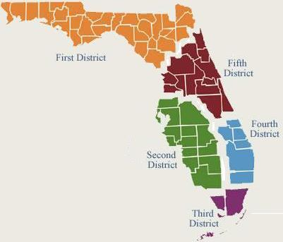 Example of federal court districts in the state of Florida