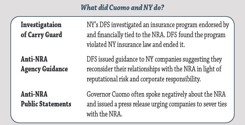 NRA v NY and Cuomo - Actions