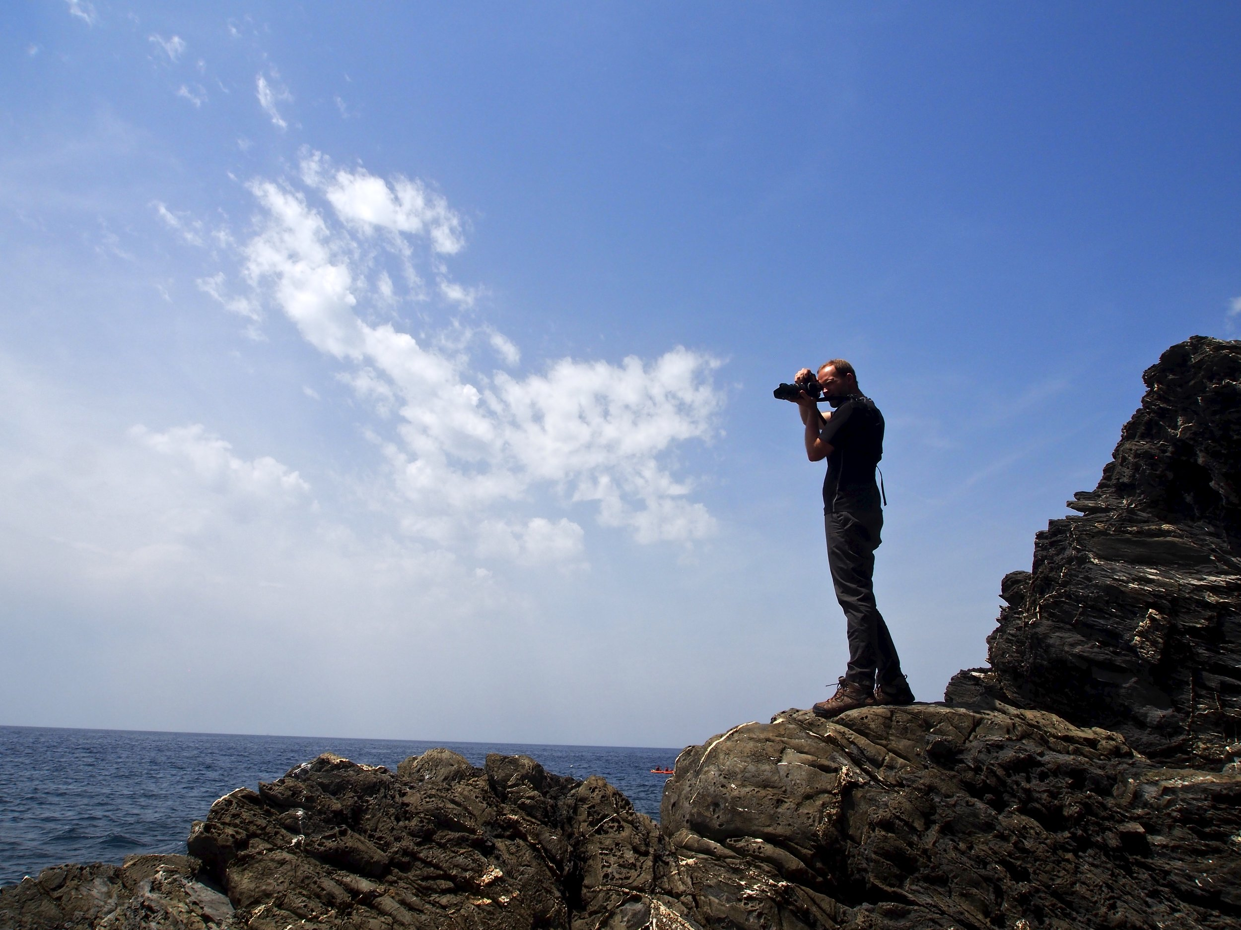 Shooting on the ocean in Cinque Terre.