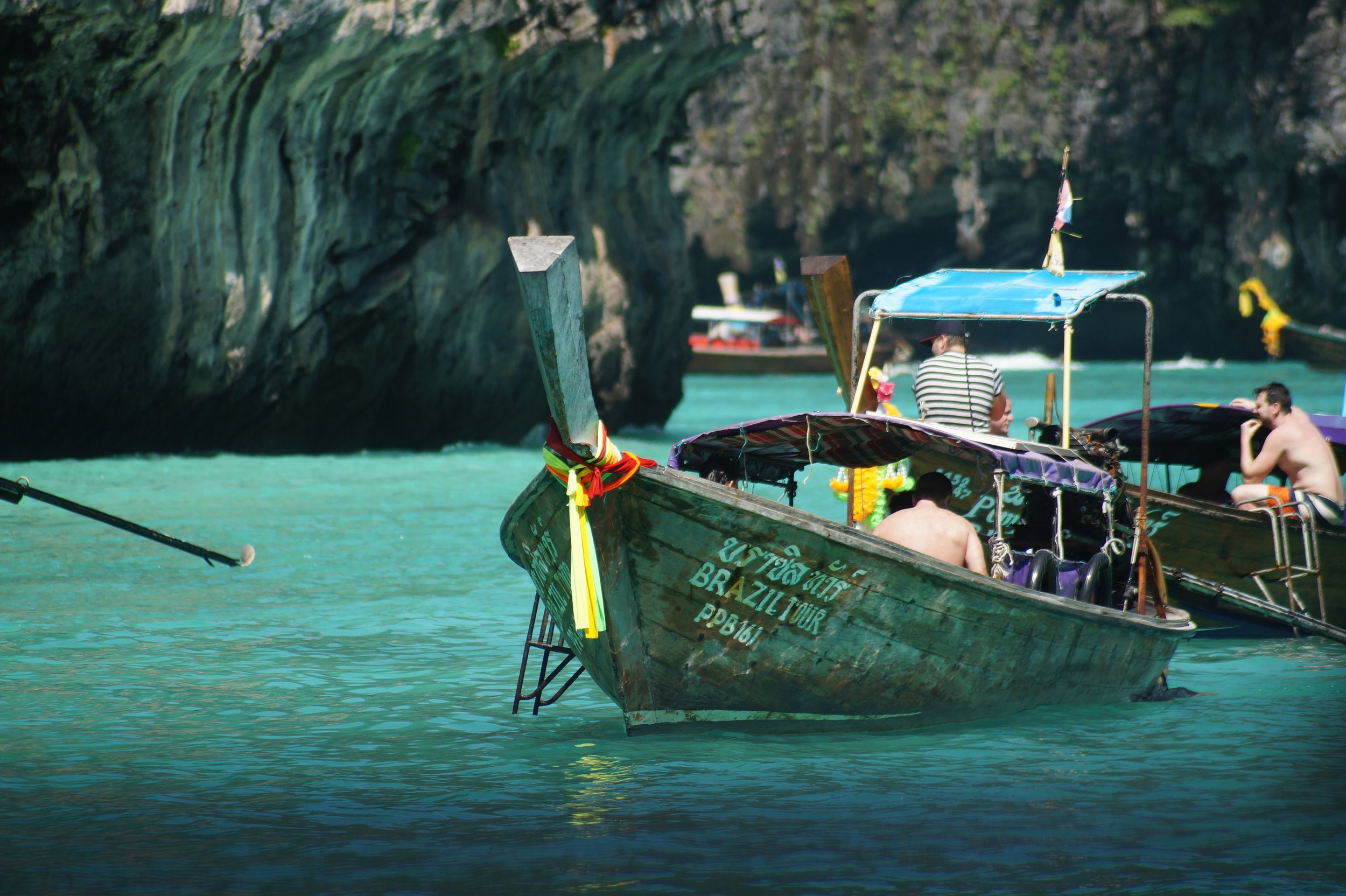 The color of the sea under the dream-like island mountains all over the south of Thailand is breathtaking.
