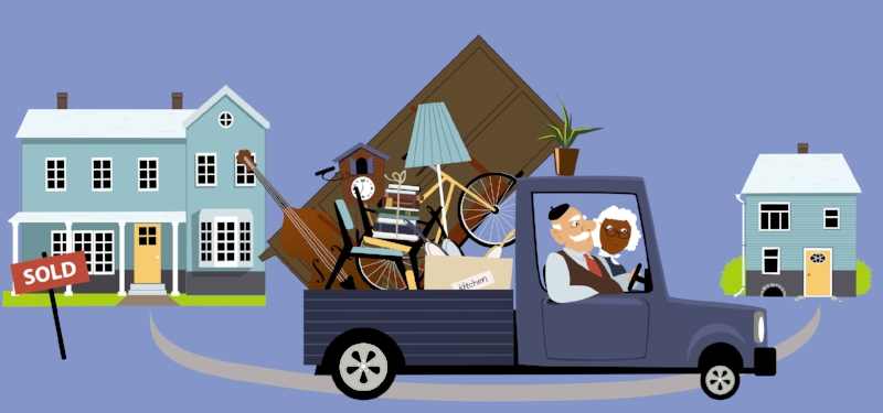 animated couple downsizing homes and moving