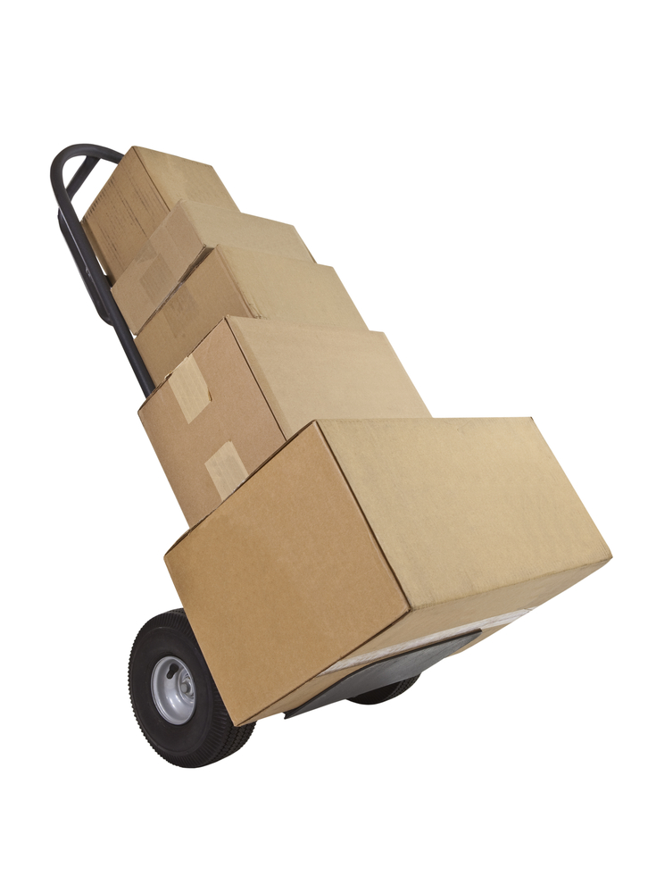 a moving dolly carrying boxes