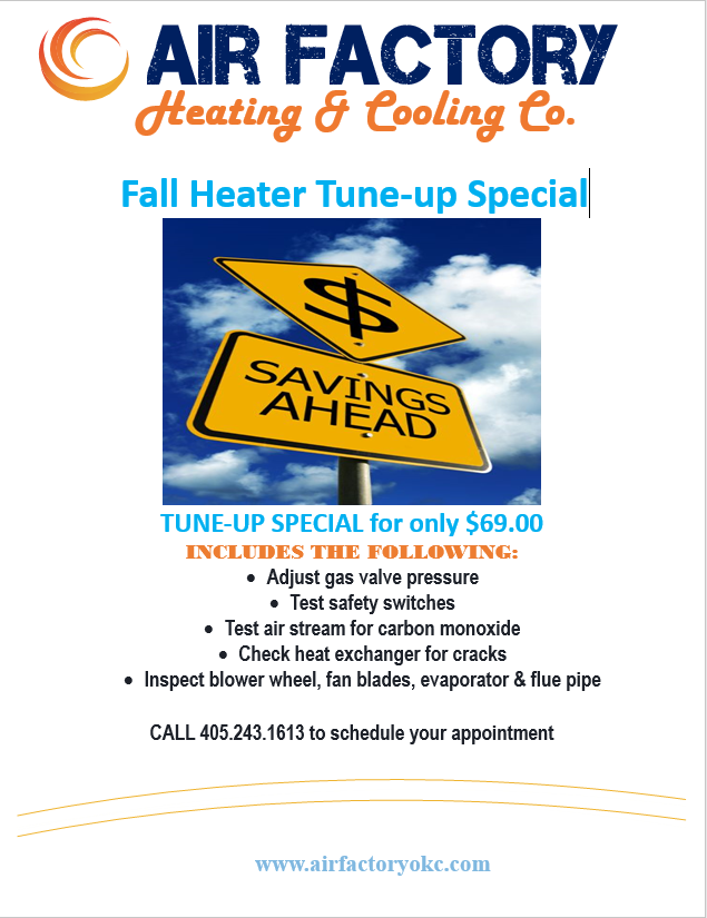 Fall Heater Tune Up Special from Air Factory Heating & Cooling