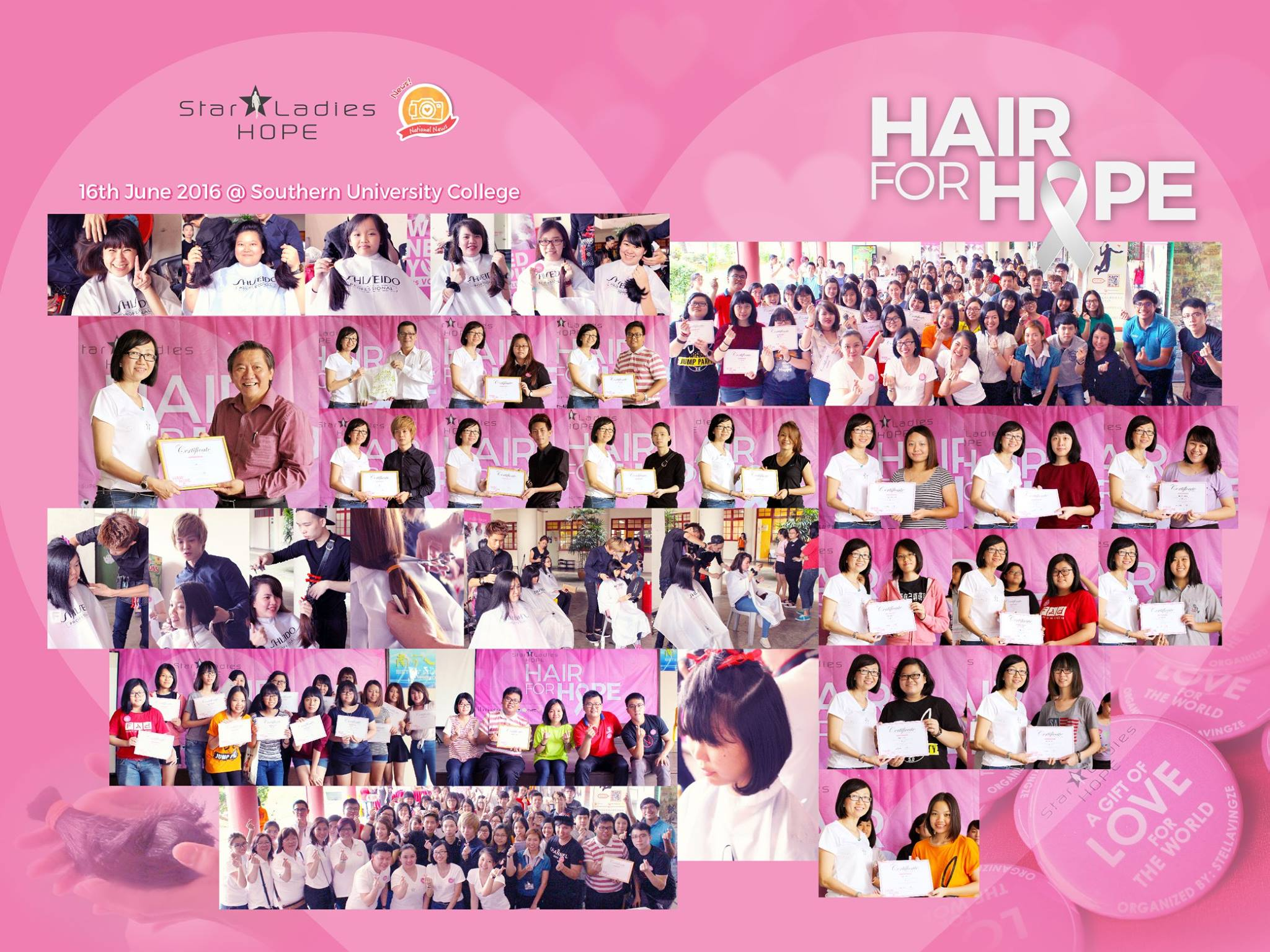 HAIR FOR HOPE . SOUTHERN UNIVERSITY COLLEGE |    7 days ago, StarLadies Hope came to Southern University College. Seeing all these little ladies to be donated their long kept hair to the needy, we feel so proud of your bravery, and touched with your kind heart. Special thanks for the Headmaster of Southern University College for collaborating with us in bring this campaign into school, giving a chance for the youngster to further aware of the importance of social care. Big thank you to all hairstylist who spare your precious time for this hair donation campaign, without you, this campaign will not be a success! We are blessed to all the love and care shared in Hair for Hope, till then, may everyone be blessed with health and love.   Special Thanks to 特别感谢: Prof. Thock Kiah Wah Dr Tan Kim Hooi Paul Lee (NewzSalon) Ric Lim (NewzSalon) Danny Chua (NewzSalon) Love Life Society I-Kuan Tao Society   #starladieshope   #southernuniversitycollege  #hairforhope   #newzsalon
