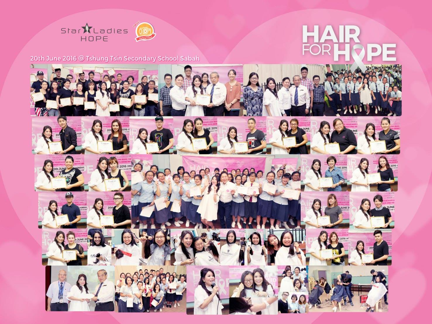 HAIR FOR HOPE . Sabah Tshung Tsin Secondary School |  20/6, StarLadies Hope were here in Sabah Tshung Tsin Secondary School. Stepping into this school brings back the energetic memories back then, seeing every female students register themselves to donate their hair for this campaign, we feel so proud and touched with your kind heart. Youngsters understands the true meaning of Happiness comes from responsibility, everyday is meaningful when we are thankful for every little aspects in life. Special thanks for the Headmaster of Sabah Tshung Tsin Secondary School for collaborating with us in bring this campaign into school, giving a chance for the youngster to further aware of the importance of social care. Big thank you to all 20 hairstylist who spare your precious time for cutting hairs for 300 students! We are blessed to all the love and care shared in Hair for Hope, till then, may everyone be blessed with health and love.  Special Thanks to 特别感谢:  1. Sabah Tshung Tsin Secondary School Headmaster, Teachers and Students 2. Agnes Voo Lee Chu (P.A Uniex Saloon) 3. Angello Tsen Wan Shin 4. Chai Sook Team  5. Chong Kai Ni (Y Hair Saloon) 6. Chris Chen Siong Tsin (Chris Team Saloon) 7. Christina Cham (88 Hairdressing and Beauty Saloon) 8. Chung Jia Jun 9. Elaine Lam  10. Erica Liew Saik Mee (AR Saloon) 11. Esterlina Pandi Marten 12. Ha How Kong (Impression Saloon) 13. Joanne Chok (A&J Salon) 14. Kent Wong (Impression Saloon) 15. Koh Chui Fang (TOP9 II Hair Beauty Unisex Saloon) 16. Rita Chia (Ideal Saloon) 17. Sam Leung Jiun Shyang (Team Saloon) 18. Sharen Teo Chui Theng (New Rebecca Saloon) 19. Shirley (A&J Saloon) 20. Terrance Yong (Elegance Hair & Beauty Saloon) 21. Veronica Ong Ken Yun (3D Saloon)  #starladieshope   #sabahtshungtsinsecondaryschool  #hairforhope