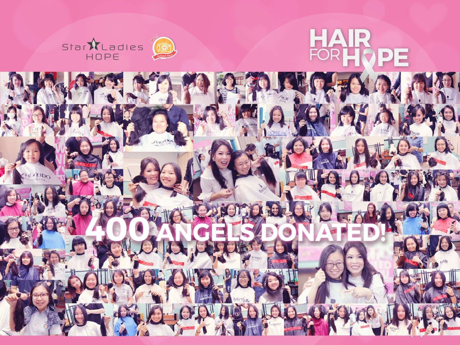 HAIR FOR HOPE . THEY DID IT | With just 2 campaigns, <Hair For Hope> Hair Donation Campaign, organized by StarLadies Hope has successfully gathered 400 girls and ladies to donate their precious hair! Because of every kind-hearted donors, we believe there is a bright future in building a society with Love and Care, to help those in need!  It might be just HAIR for you, but it's HOPE for them!  Once again, many thanks and love to all donors and partners in your selfless supports and dedications!