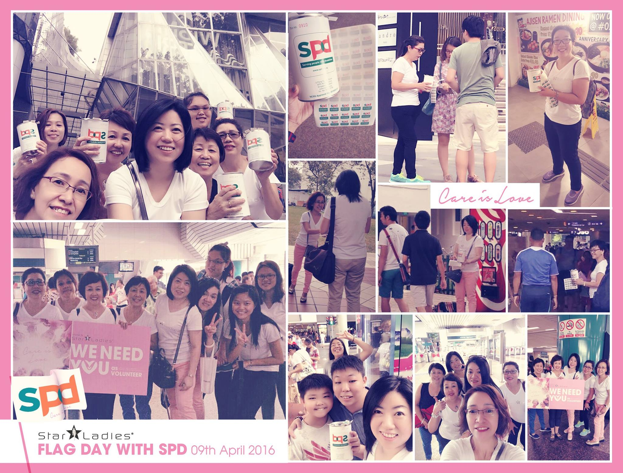CARE IS LOVE @ SPD FLAG DAY |    StarLadies Volunteers has joined Flag Day with SPD on 9/4! We are proud to have our StarLadies Volunteer, sparing their morning to share some help with SPD, though they need to attend [Shanghai Night] party at evening time. During fund raising, we have our StarLadies Volunteers distributing around Orchard, Bishan and Ang Mo Kio! It was a fun experience with SPD in fu  nd raising, approaching everyone for donation, in order to help SPD to improve their center facilities! Though weather was hot and there was a sudden heavy down pour, this does not stop us from raising fund for the needs!  Join us as we move on to our May activity! Stay Tune! To join, Click here: http://starladies-international.com/click-me/