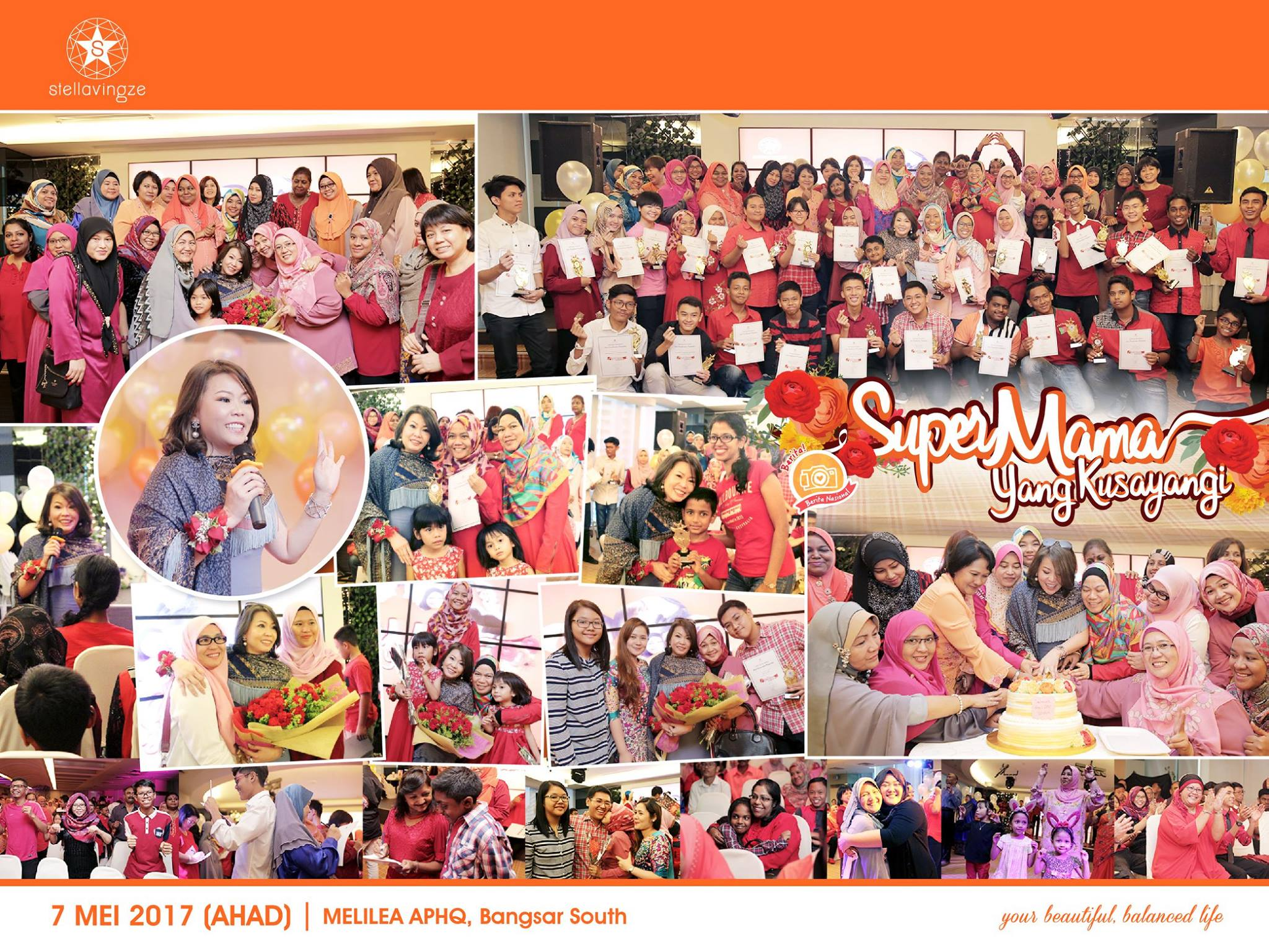 "SuperMama Yang Kusayangi |   ""Happiness starts at home"" - Datuk Stella Chin (Founder of Stellavingze International)  It was a special and memorable evening for mothers to discover the love their children have for them though they never express with words and actions.  We are grateful to have these children appreciate and love their mother. Don't forget to hug and tell how your mother how much you love her. Always remember how much she has dedicated her life in nurturing you and guarding the family wholeheartedly. All mothers are special and unique.  Wishing all SuperMama around the world a Happy Mothers' Day!    Methodist Girls School Kuala Lumpur   SMK (L) Methodist Kuala Lumpur   SMK Cochrane    SMK Convent Bukit Nanas    SMK Sentul Utama    #StellavingzeInternational  #YourBeautifulBalancedLife  #SuperMamaYangKusayangi   #SMKPMethodist    #SMKLMethodistKualaLumpur   #SMKCochrane    #SMKConventBukitNanas    #SMKSentulUtama"
